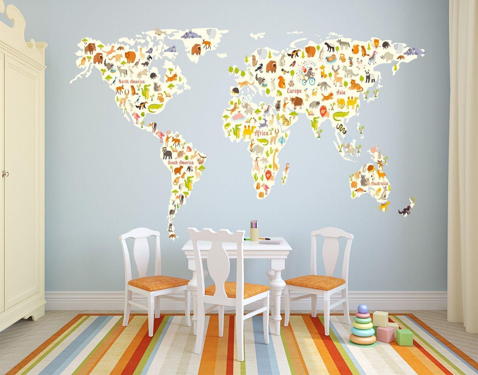 3D World Map Creative 4 Wallpaper Mural Floor Wall Print Decal Wall Sticker UK