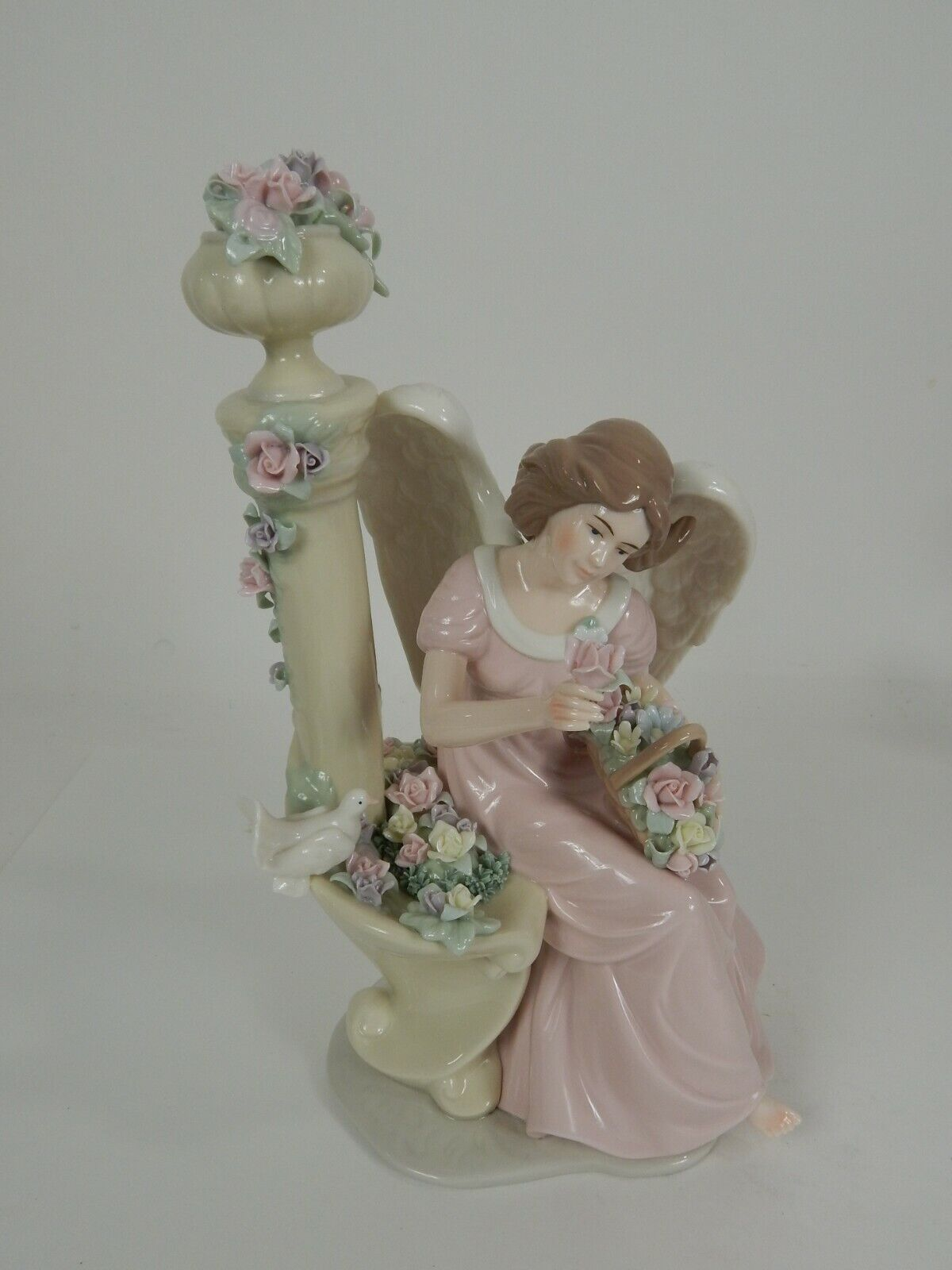 Large 13 Hand Painted Porcelain Angel And Dove By Flower Fountain Figurine Ebay
