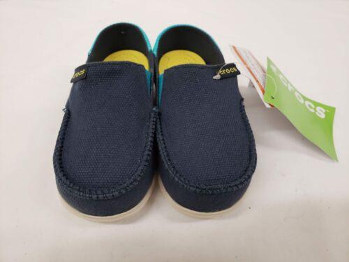 New Crocs Kids Santa Cruz Slip on Loafers 10//11 12//13 Size 8//9 Navy Blue