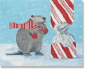 Needlepoint-Handpainted-CHRISTMAS-CBK-Beaver-with-Candy-Cane