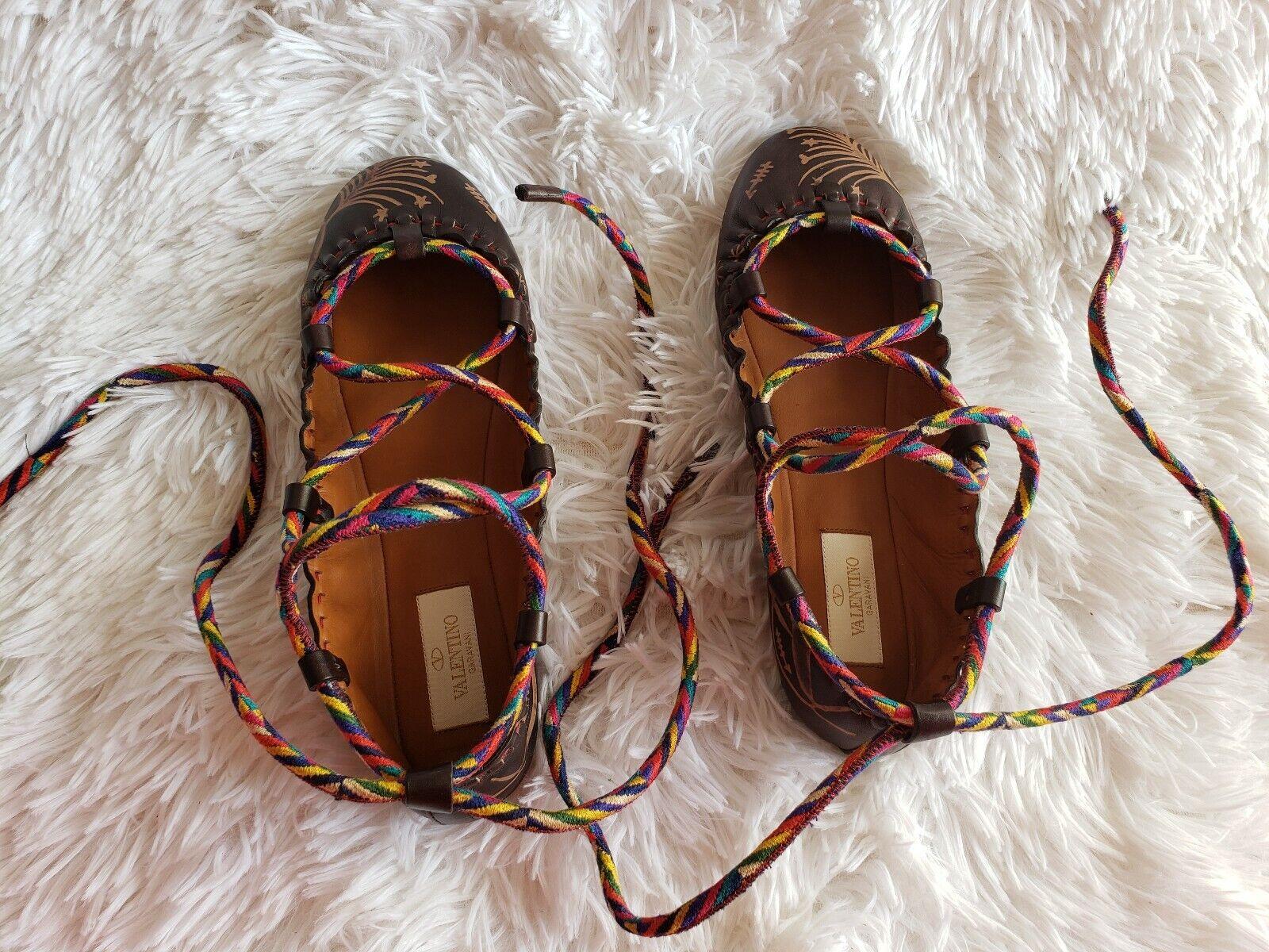 Nwob Valentino kalavani zapatillas de ballet marrón oscuro (37)