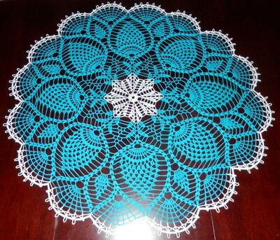 "Cotton 100% 37"" ""pineapples"" Round Stunning Real Handmade Crochet Doily"