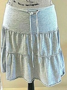 Abercrombie-amp-Fitch-Light-Gray-Skirt-Tiered-with-Drawstring-Cotton-Polyester-XS