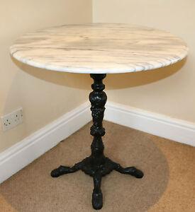 White Marble Round Table 70cm Bistro Pub Outdoor Patio