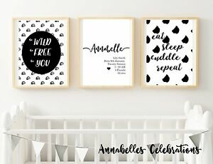 Details About Printable Personalised Set Of 3 Black White Baby Boy Room Nursery Decor