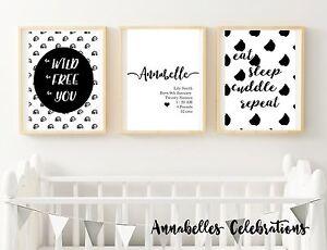 Personalised Set of 3 Black White - Baby Boy / Girl Room Nursery Wall Art Decor