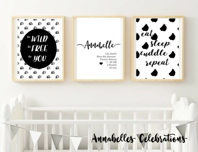 Personalised Set of 3 Black White - Baby Boy / Girl Room Nursery Wall Art Decor