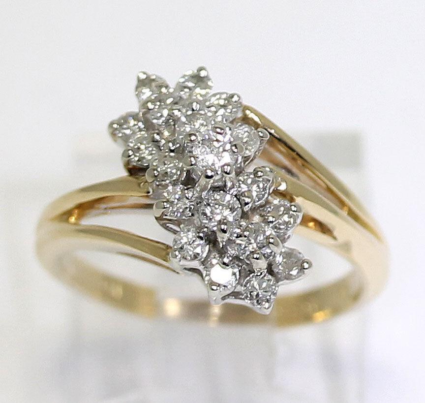 Diamond cascade ring 14K yellow gold cluster G-H round brilliants .60CT sz 5 1 4