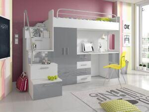 Détails sur Lit pour Jeunes Complet Chambre à Coucher Design Enfants Lits  Armoire Table Gris
