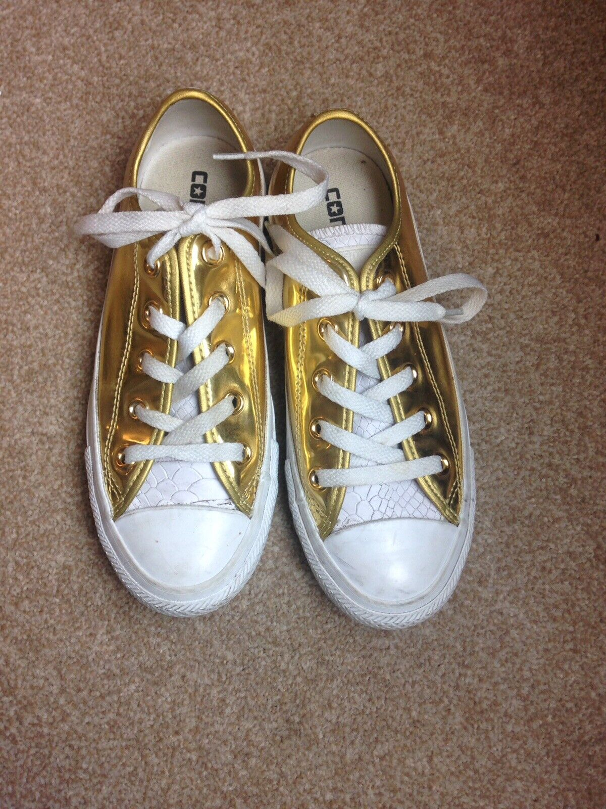 Gold Exclusive Rare Croc Low Top Converse All Star 3 35