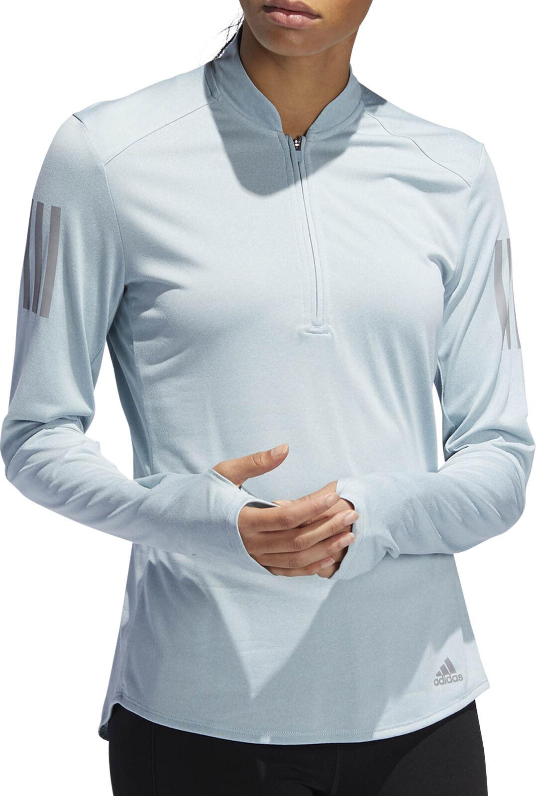 Adidas Own The Run Half Zip Long Sleeve Womens Running Top - bluee