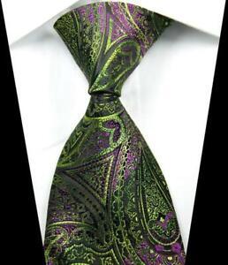 Hot-Classic-Paisley-Green-Purple-JACQUARD-WOVEN-100-Silk-Men-039-s-Tie-Necktie