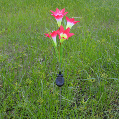 4 LED Solar Powered Lily Flower Stake Garden Yard Lights Outdoor Landscape Lamps