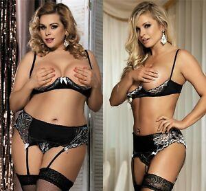Ladies Black Plus Size Bra Suspender Set Lingerie Nightwear Lace 12 14 18 20 22