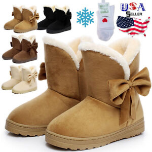 Women-039-s-Winter-Warm-Suede-Ankle-Snow-Boots-Fur-Thicken-Ski-Flats-Casual-Shoes
