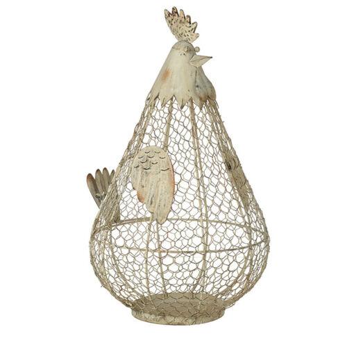 Country Style Cream Brown Chicken Hen Kitchen Storage Wire Egg Basket Holder