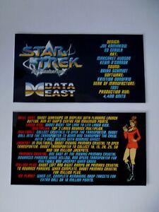 * * 'STAR TREK' Data East 1991 Custom Instruction/Apron Cards * * (New)