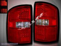 14-15 Gmc Sierra L.e.d Tail Lights Red/clear Rear Brake Lamps