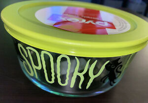 NEW PYREX 4 Cup Trick Or Treat Boo! Glass Storage Bowl Green Lid. Halloween 2020