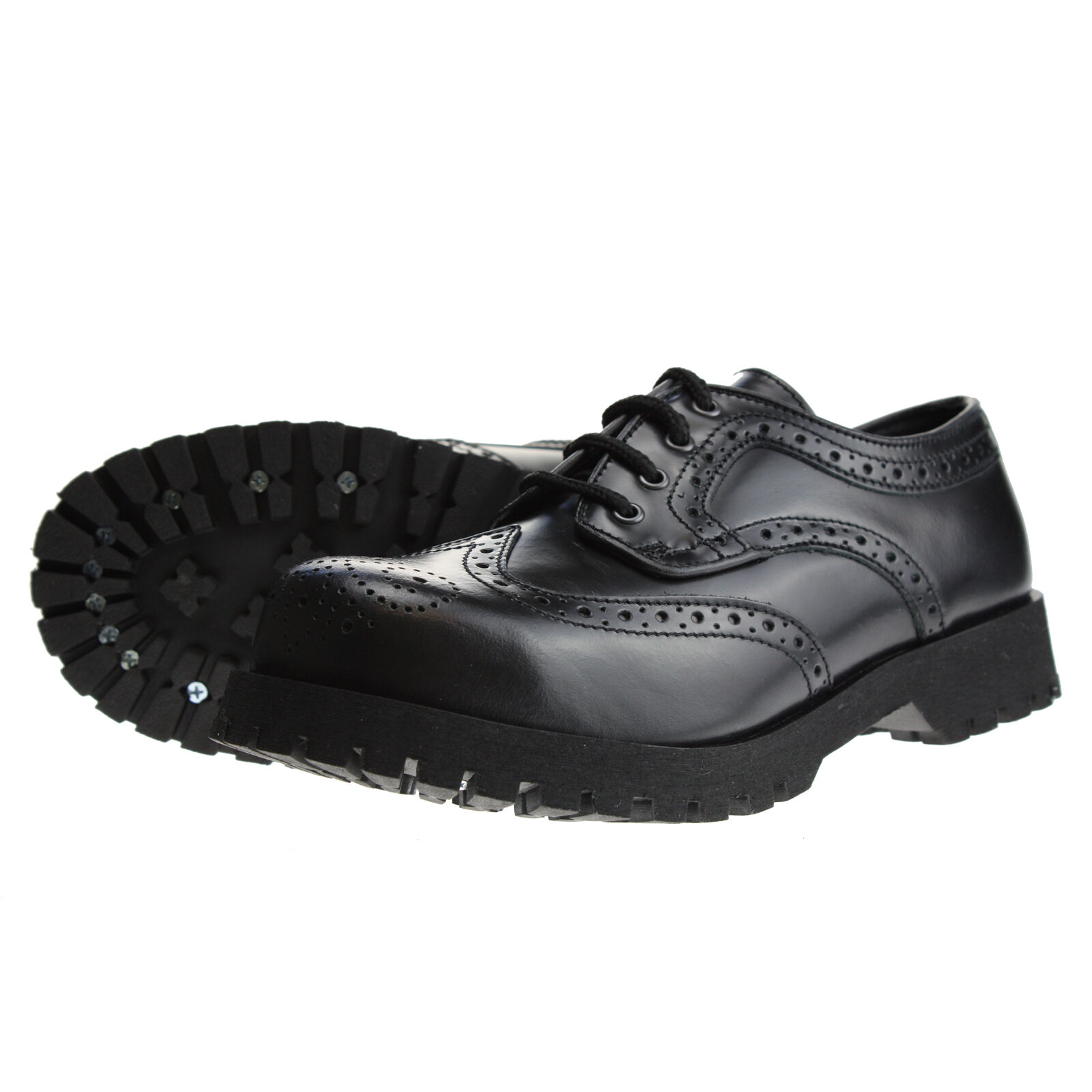 Bottes et bretelles 4-Loch richelieu Noir Rangers chaussures en cuir