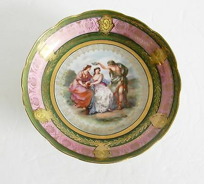 Austria Vienna footed art bowl with victorian scene - gold accents