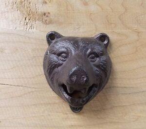 CAST IRON BEAR HEAD WALL MOUNT BOTTLE OPENER BLACK GRIZZLY BEAR SODA BEER