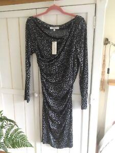 Lk Bennett Dr Mariella Animal Print Grey Black Dress Uk 12 14 Eu 42 New 225 Ebay