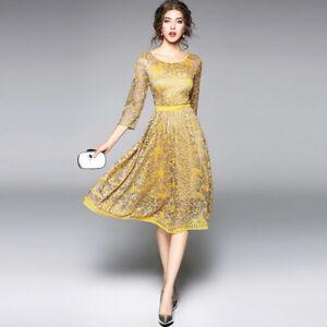 d6e5091952 Dettagli su Elegante vestito abito oro pizzo maniche scampanato slim  morbido 4235