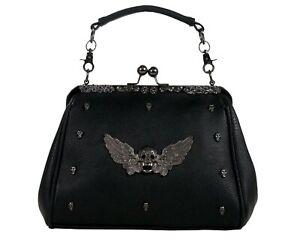 GOTHX-SKULL-HEAD-WING-Oversize-Purse-Ladies-Handbag-Punk-Rock-Goth-Gothic-PU-Bag