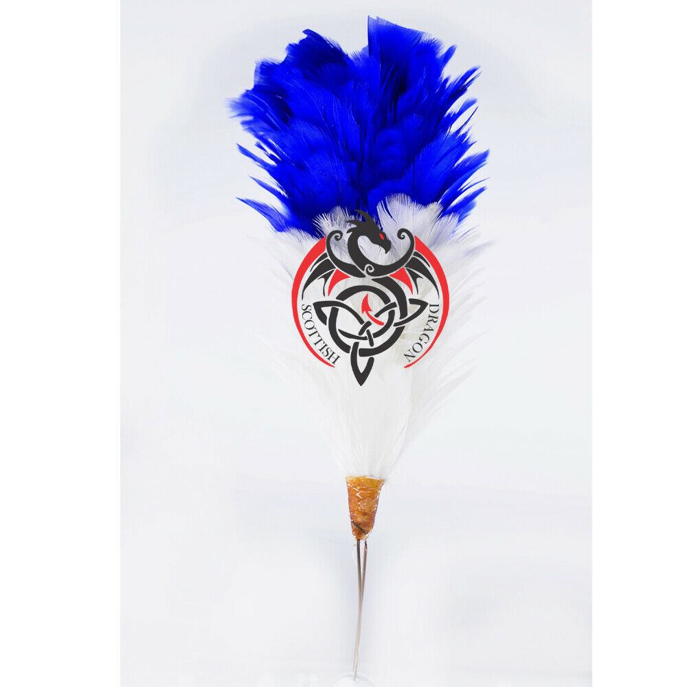 SD Glengarry Cap Plume Feather Hackle White,Blue 6