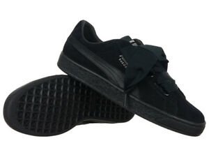 Details about Women's Trainers Puma Basket Heart EP Black Leather Sneakers Everyday Trainers