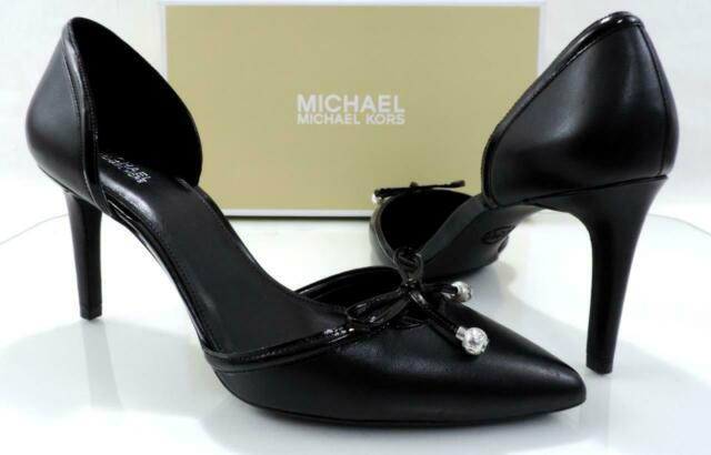Michael Kors Gia Flex D'Orsay Pump Heels Pointy Toe Leather Black Size 9.5