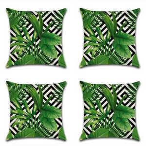 Uk Set Of 4 Tropical Green Leaf Geometric Garden Cushion Cover Throw Pillow Case Ebay
