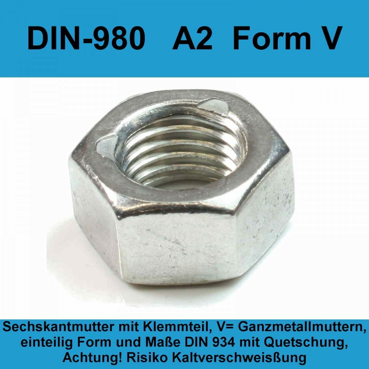 M6 DIN 980 A2 Edelstahl Sechskantmuttern Sicherungsmuttern Stop V2A 20-500St