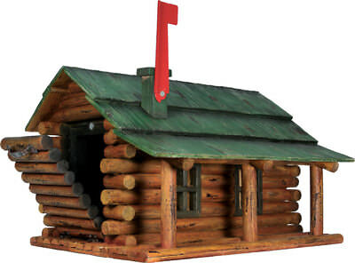 Log Cabin with Porch Wooden Mailbox Red Authentic Amish-made in USA