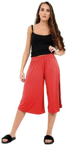 Women Viscose Elasticated Waist Plain Wide Leg Flared 3//4 Culottes Shorts 8-26