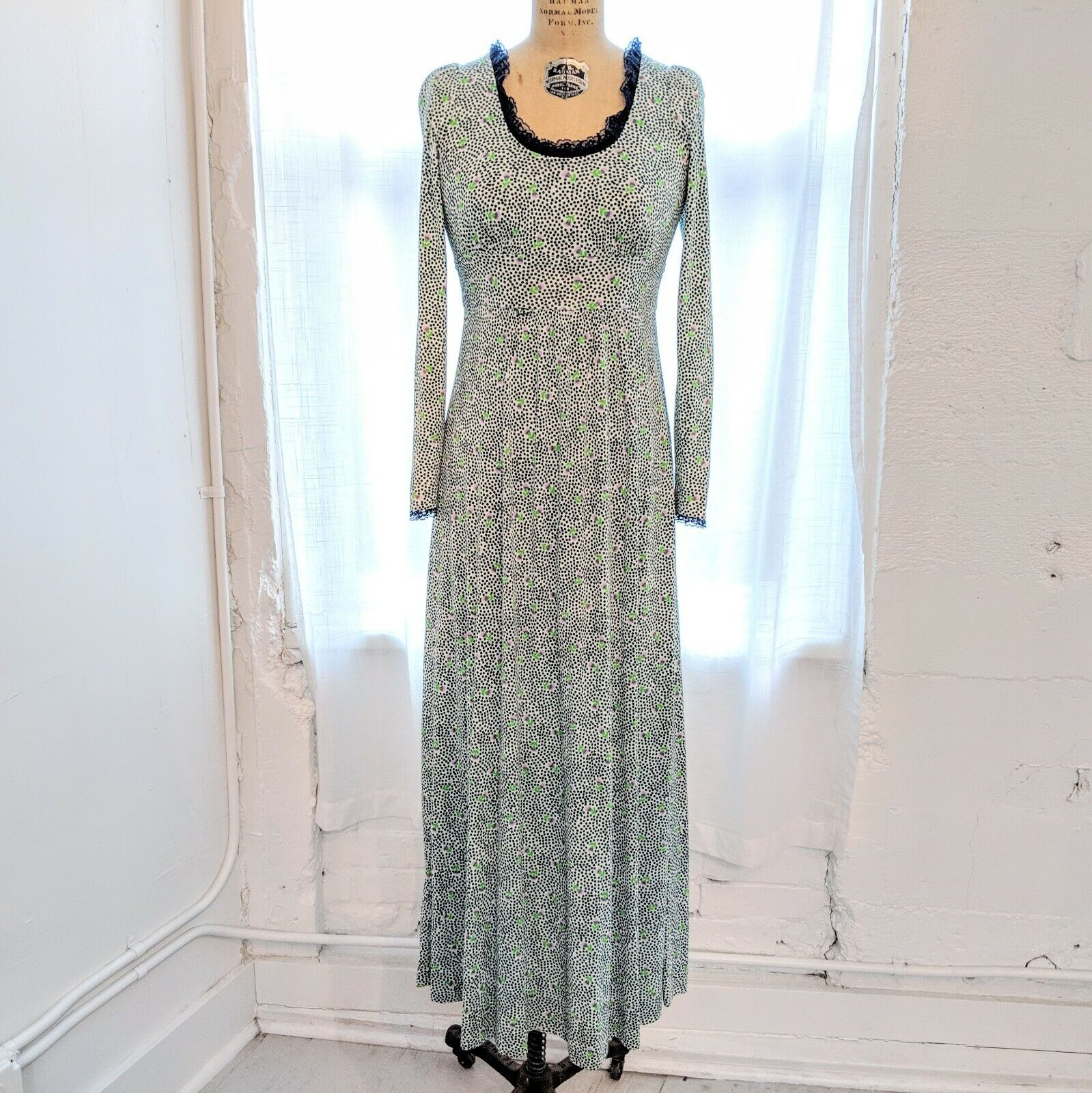 Vintage Phase II Navy Purple & Green Floral Print & Maxi Dress Size (XS) GOOD