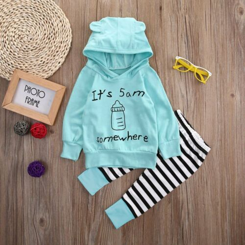 2pcs Cute Toddler Baby Boy Girl Hooded Tops Shirt+Striped Pants Clothes Set