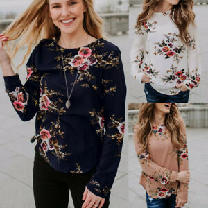US-Women-Long-SLeeve-Floral-Top-Ladies-Casual-Crew-Neck-Loose-Blouse-T-Shirt-New