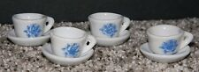 Vintage 8 Piece Porcelain Miniature Tea Set Blue Floral