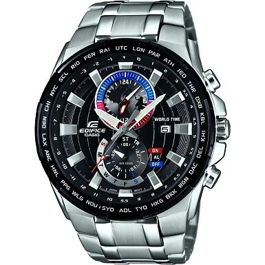 Casio EFR-550D-1AVUEF Mens Edifice Silver Steel Bracelet Watch RRP £220