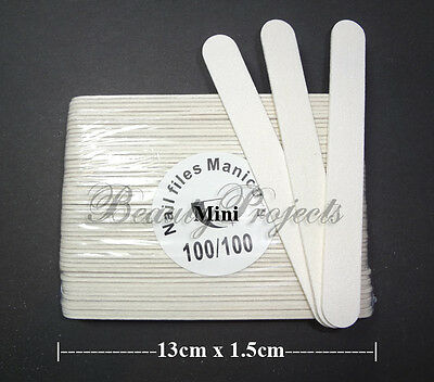 50pcs Mini Manicure Nail Files White 100/100 Grit Plastic Center 13cm (5in) NEW!