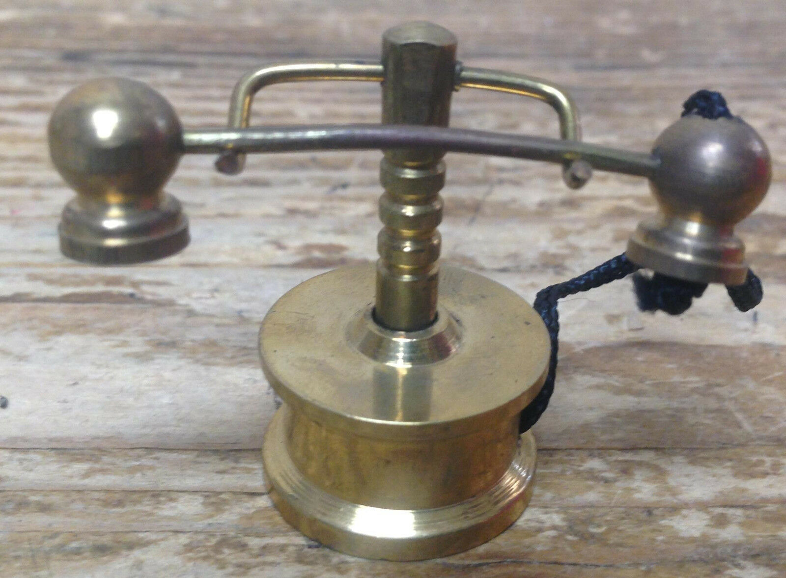 Vintage Doll House Dollhouse Brass Telephone Old Fashioned Phone Cord  40 Mini