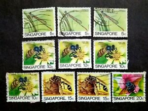 Singapore-1985-Insects-Loose-Set-Up-To-20c-Extra-10v-Used-3