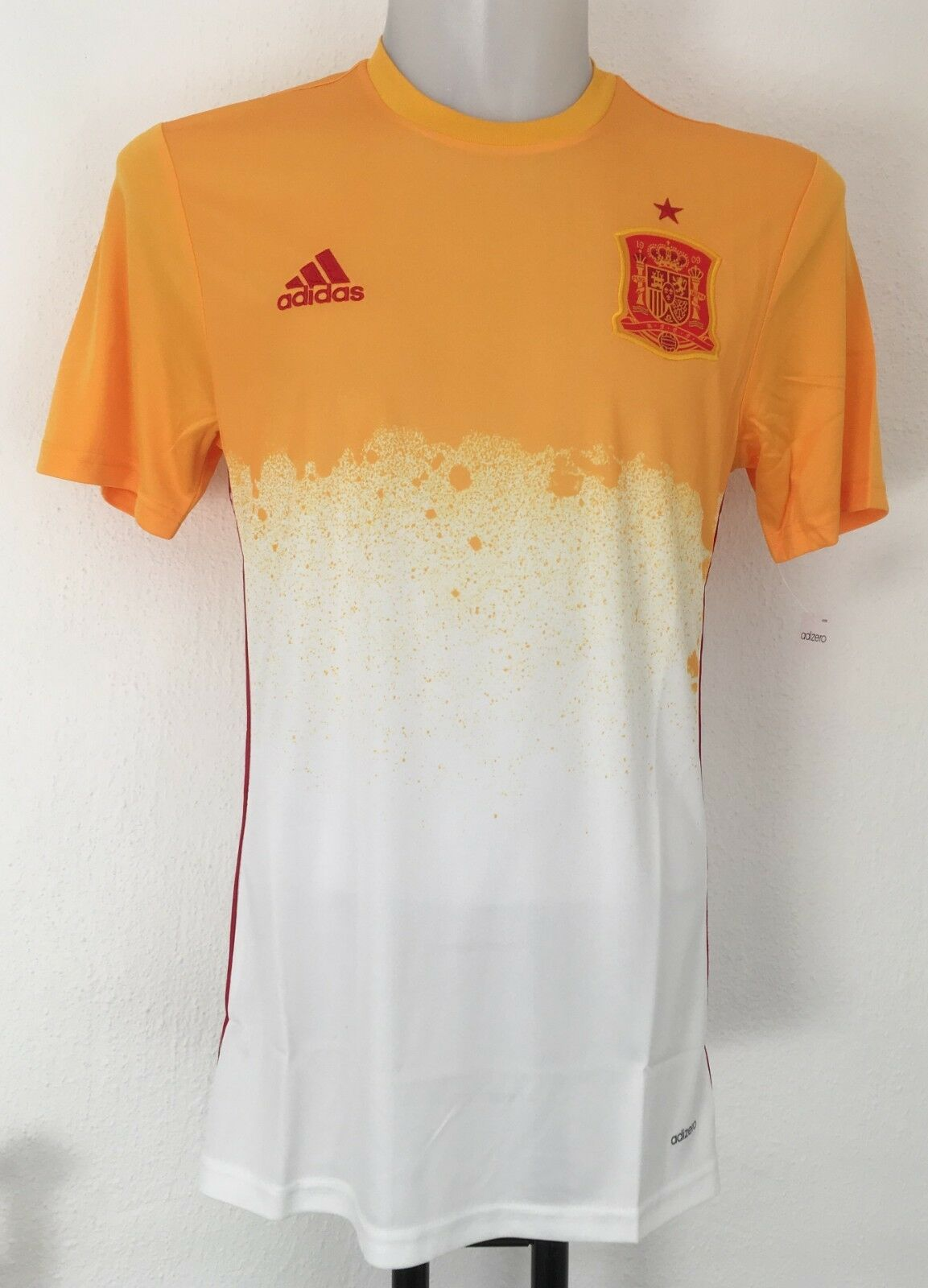 SPAIN FOOTBALL 2016 S S AWAY PRE-MATCH SHIRT BY ADIDAS SIZE MEN'S EXTRA SMALL