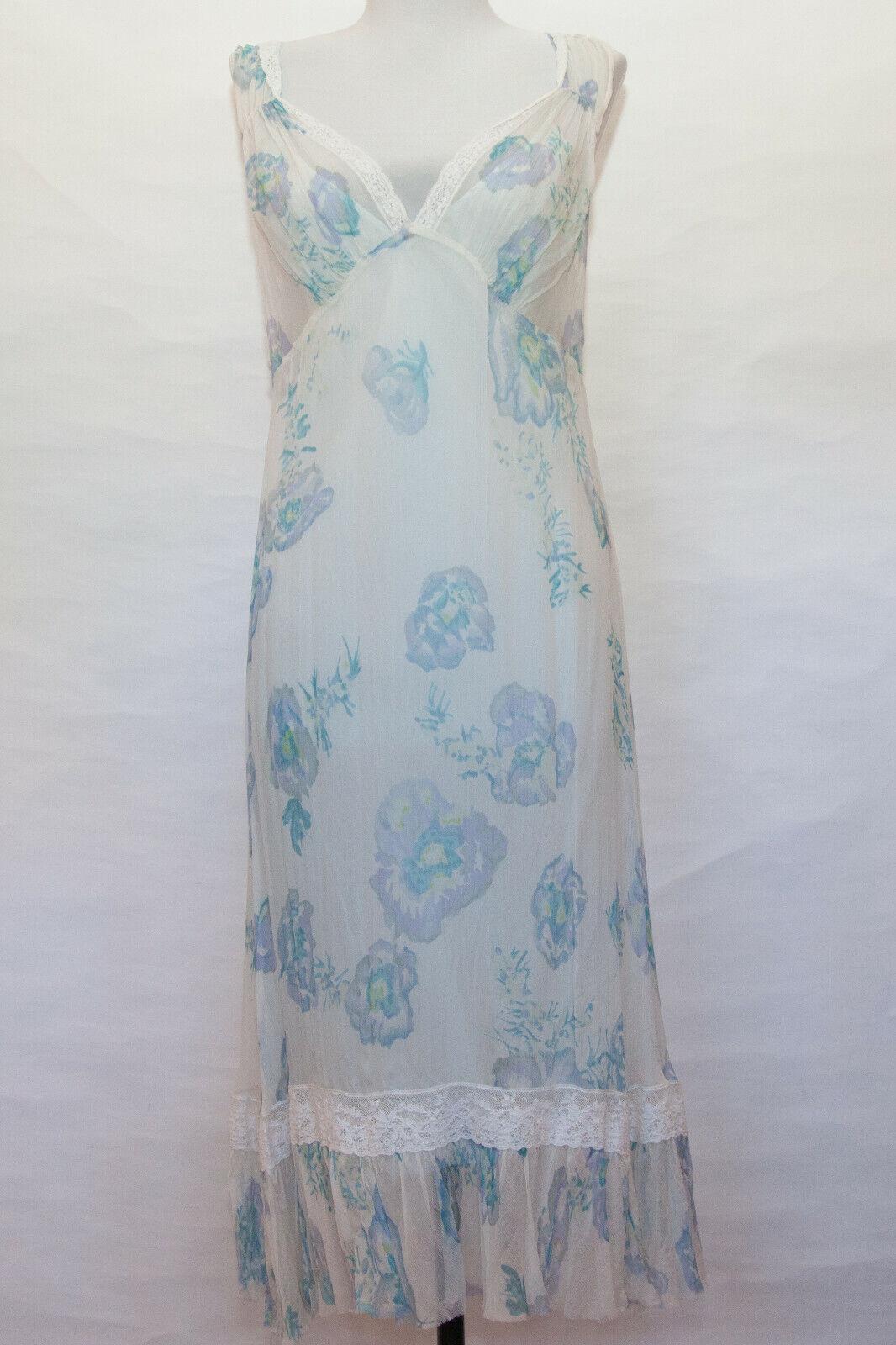 Rebecca Taylor silk Blau Floral Dress NWT Sz 8 but fits like a Größe 4. Bust 34