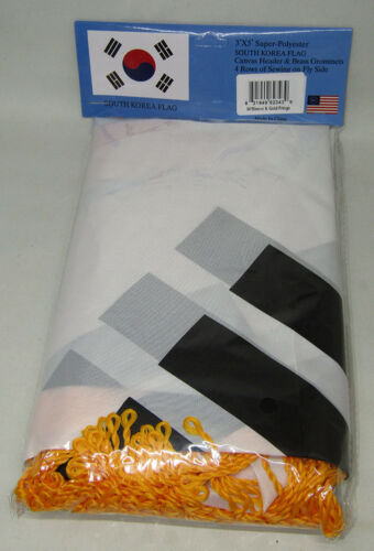 Gold Fransen Flagge 0.9mx5/' 3x5 Südkorea Polyester Nylon Ärmel mit