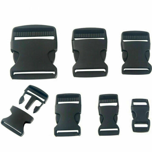 Webbing Bag Strap Clip Buckles Adjustable Black Plastic Side Release Clip Buckle