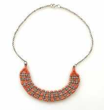 Antique Salmon Red Coral Bead 3 Row Strand Collar Necklace Sterling 925