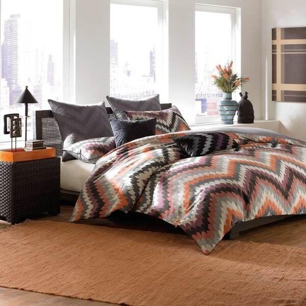 3-Pc Linen House Fedora Embroidered King Duvet Set Geometric Chevron Abstract